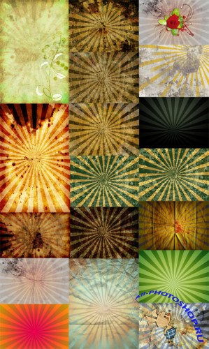 Sunburst Retro Grunge Backgrounds