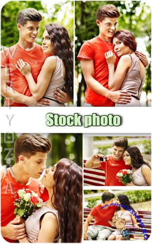 ������� ���������� ����, ������� � ������� / Young couple in love, man and woman - Raster clipart