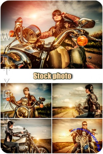 Девушка на мотоцикле, мужчина мотоциклист / Girl on a motorcycle, man motorcyclist - Raster clipart