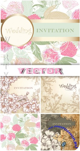 ������ ��������� ���� � ������� � ������� / Gentle wedding background with colors and patterns - vector