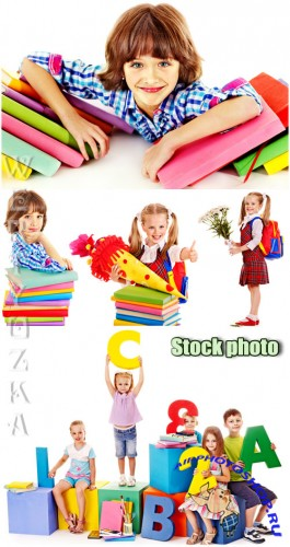 ������� ��������� � �������� / Girls schoolgirl with books - Raster clipart