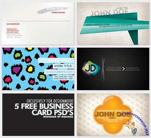 5 Business Card PSD Template