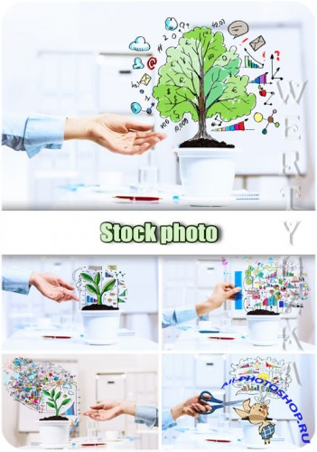������ �����, ����������, ���� / Business plans, success, growth - Raster clipart