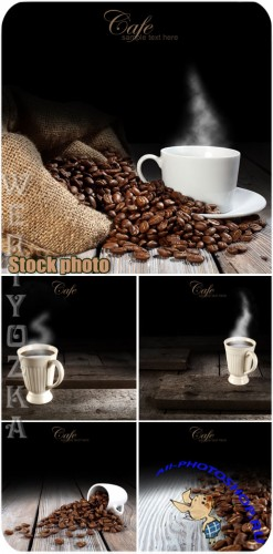 Кофе, чашка с кофе, кофейные зерна / Coffee, cup of coffee, coffee beans - Raster clipart