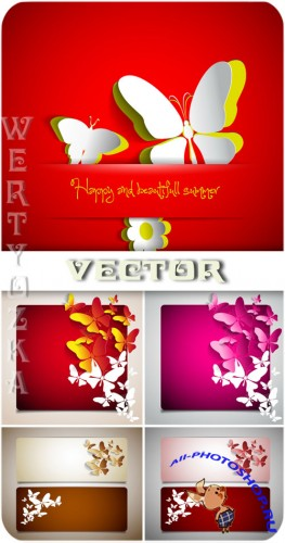 ������� � ��������� / Banners with butterflies - vector clipart