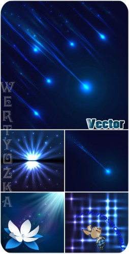 ������ � �����, ����� ��������� ���� / Shine and luster, blue vector backgrounds