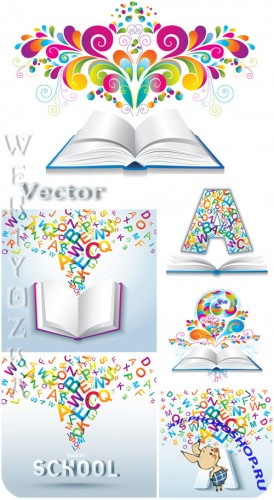 �������� �������, ������, ����� / School Clipart, books, letters - vector