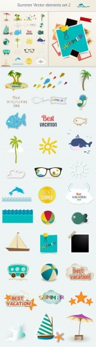 Designtnt - Summer vector elements set 2