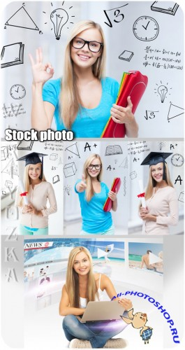 ���������, ������� � ��������� / Student girl with a laptop - Raster clipart
