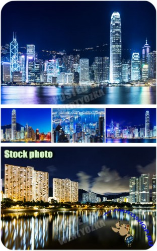 ������ �����, ������������ ������� /  Night city, multi-colored lights - Raster clipart