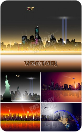 ����� ���� ������� ������ / Bright lights of the city at night - vector