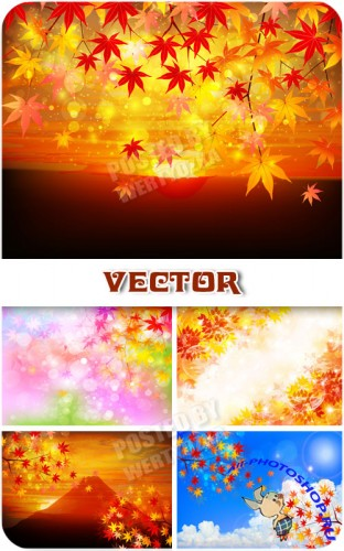 ������� ���� � ������� �������� / Autumn background with yellow leaves - vector