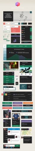 Square User Interface Kit - PSD Template