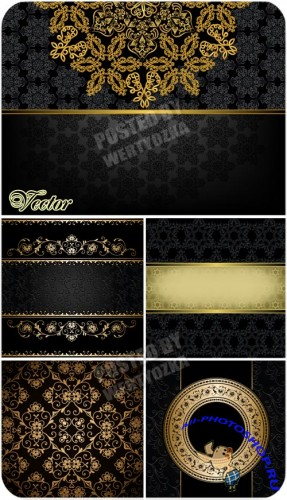 ������ ���� � �������, �����, ��������� / Black background with gold - vector