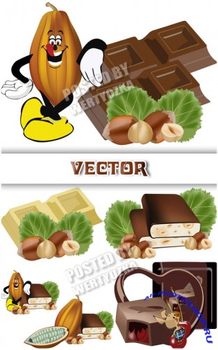 ������� � �������, �������� /  Chocolate with nuts, sweets - vector