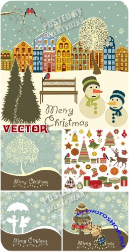 ���������� ���� � ����� ����� / Christmas background in retro style - stock vector
