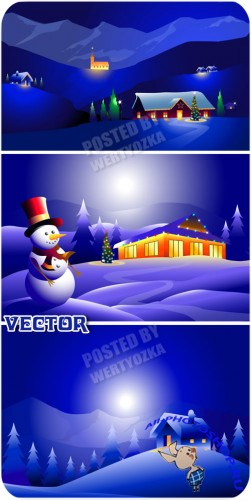 �������� � �������� ������ ���� / Snowman and a wonderful winter night - vector stock