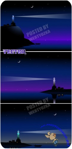 Маяк и море / Lighthouse and sea - stock vector