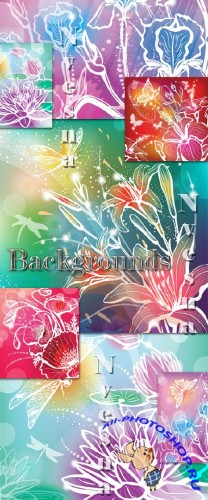 ����������� ��������� ���� � ������� / Abstract flower backgrounds in Vector