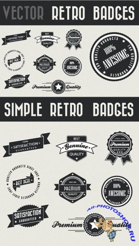 8 Vector Retro Photoshop Badges
