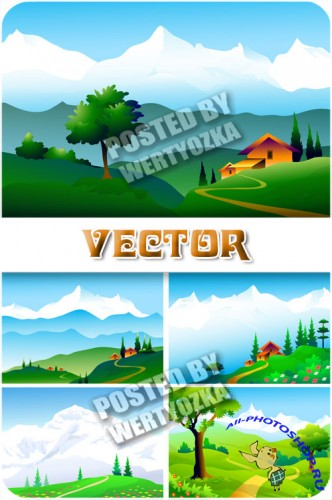 ��������� ������ ������� / Natural mountain scenery - stock vector