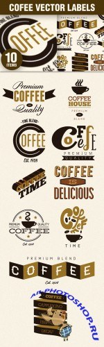 Designtnt - Coffee Labels Badges Vector Set