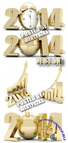 ������� ������� 2014 / Gold lettering 2014 - stock photos