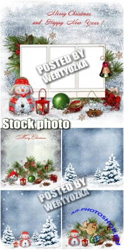 Новогодние фоны с елкой и снеговиком / Christmas background with christmas tree and a snowman - stock photos