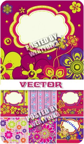 ���� � ������������� ������� � ������ ���������� / Backgrounds with colorful designs - stock vector