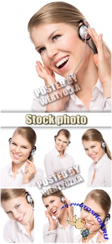 Девушка-оператор call-центра / Girl-operator call-center - stock photos