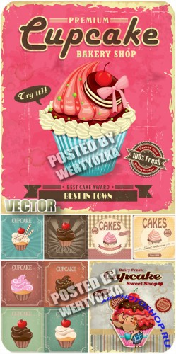 �����, ���������, ���������� / Cupcakes, fruit, chocolate - stock vector