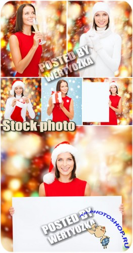 ���������� ������� � �������� / Christmas girl with a poster - stock photos