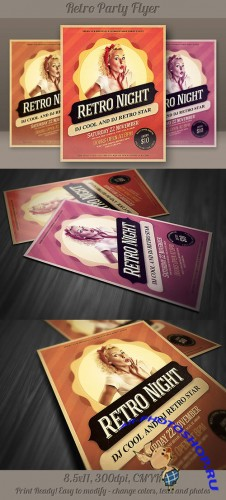 Retro Party Flyer Template 1