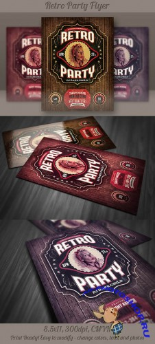 Retro Party Flyer Template 5
