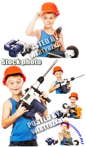 ���������, ������� � ������������� / Builder, a boy with tools - stock photos