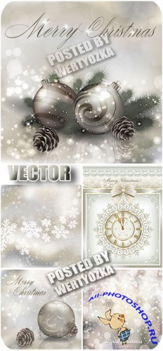 ����������� ����� ���, ������ ���� / Silver new year, winter backgrounds - stock vector