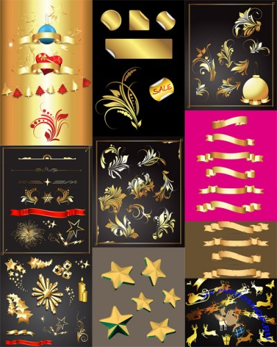 Vector Set - Golden Design Elements
