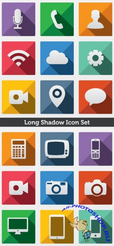 Long Shadow Vector Icons Set