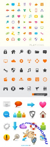 Clean and Flat Icons Vector Set