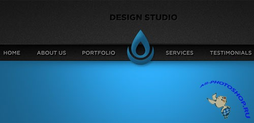 Sleek Blue Portfolio Website Header PSD Template