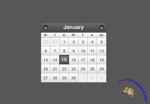 Sleek Small Calendar jQuery or CSS Date Picker PSD Template