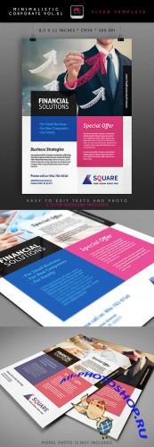 Financial Solutions Minimalistic Corporate Flyer/Poster PSD Template #1