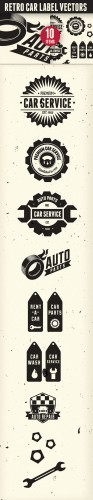 Designtnt - Retro Vintage Car Labels Set