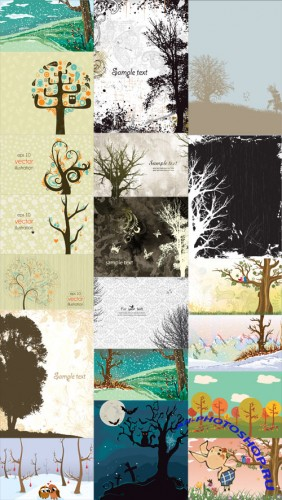 20 Trees Illustrations Vector Set