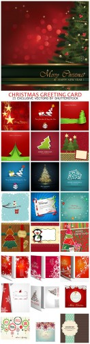 Merry Christmas Greeting Card Vector Illustration Bundle