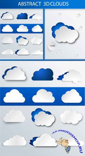 Designtnt - Abstract 3D Clouds Set 1