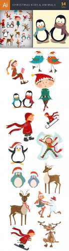 Vector Christmas Kids & Animals Set - Winter Elements