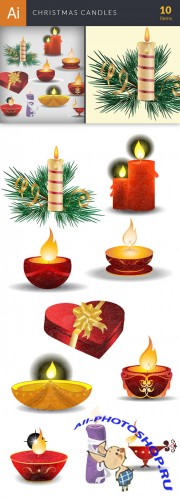 Vector Christmas Candles Set - Winter Elements