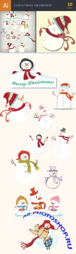 Vector Christmas Snowmen Set - Winter Elements
