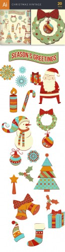 Vector Christmas Vintage Set - Winter Elements